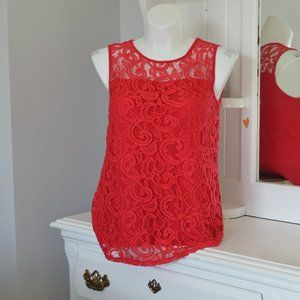 Adrianna Papell Red Lace Illusion Sleeveless Top